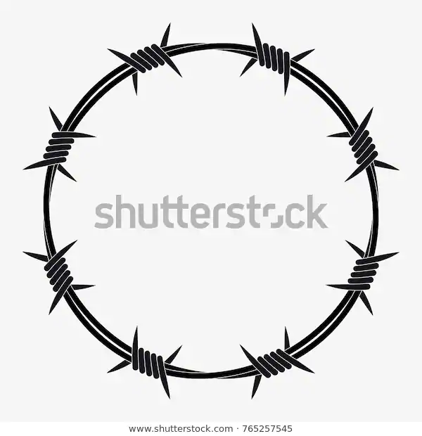 Barbed Wire Circle Shape Vector Silhouette Stock Vector Royalty Free 765257545 Barbed Wire Tattoos Barbed Wire Drawing Barbed Wire