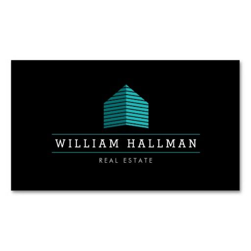Abstract home logo tealblack business card pinterest logo modern home logo builder real estate customizable business card template perfect for home builders construction realtors property managers reheart Images