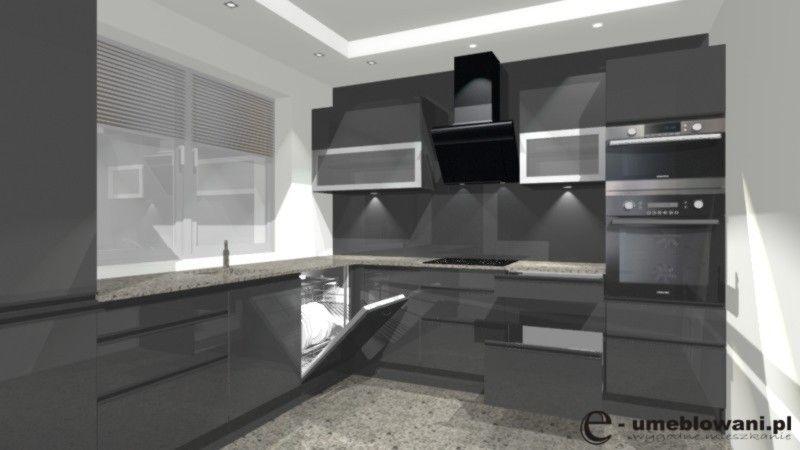 kuchnia w kształcie litery L, witryny, szara połysk, szkło   -> Kuchnia Ciemno Szara