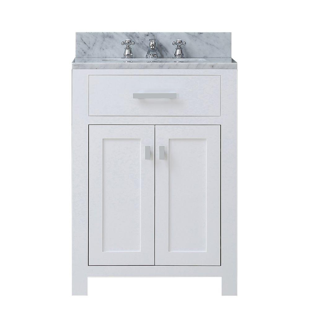 Water Creation 24 In W X 21 In D Vanity In White With Marble