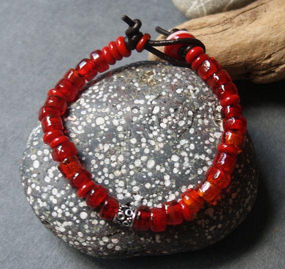 Glass Bracelet  Bright Red Color  Lightweight by LikeAGlassShop