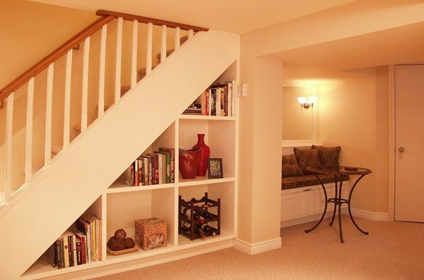 small basement design ideas space saving ideas under stairs storage space open shelves - Basement Design Ideas