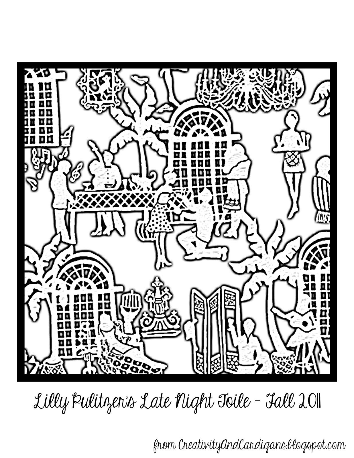 Lilly Pulitzer Late Night Toile Coloring Page Coloring Pages Lilly Pulitzer Inspired Lillies