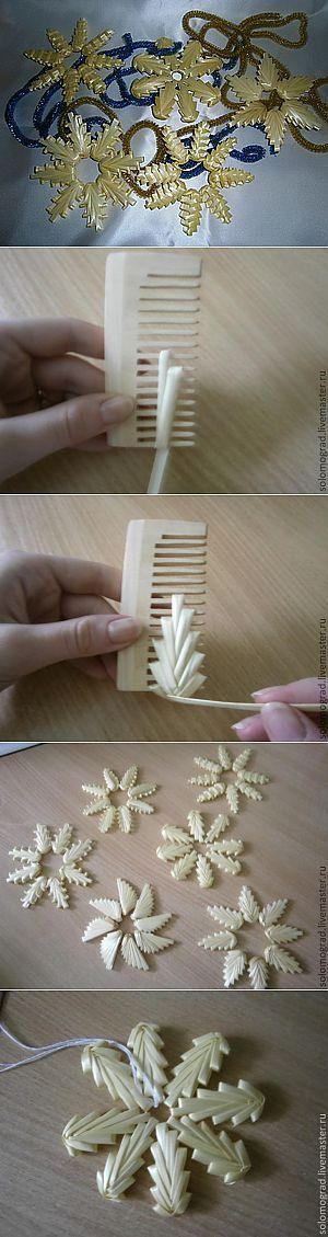 コームで潰したストローを編む花モチーフ作り方