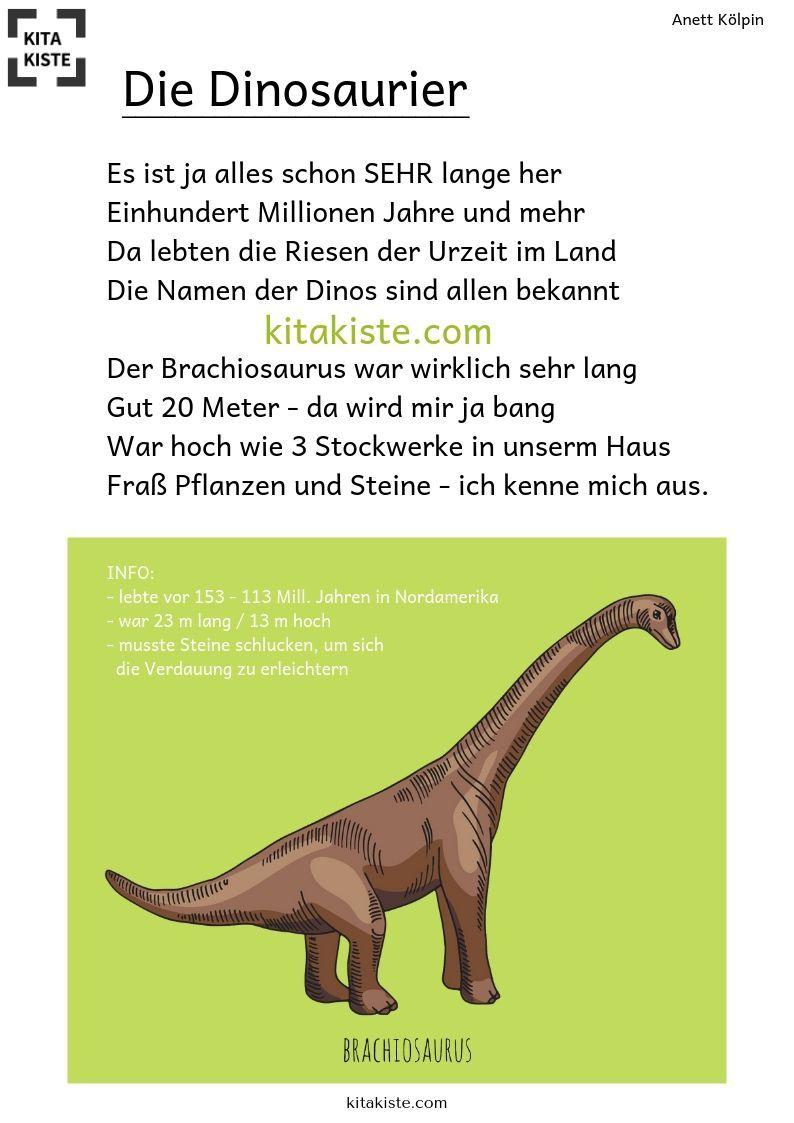 Die Dinosaurier Gedicht Kindergarten Dinosaurier Kindergarten Dinosaurier Dinosaurier Vorschule