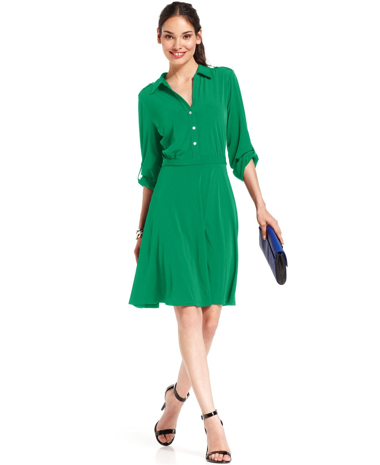 94ff74ea9 NY Collection Long-Sleeve Shirtdress - Sale   Clearance - Women - Macy s