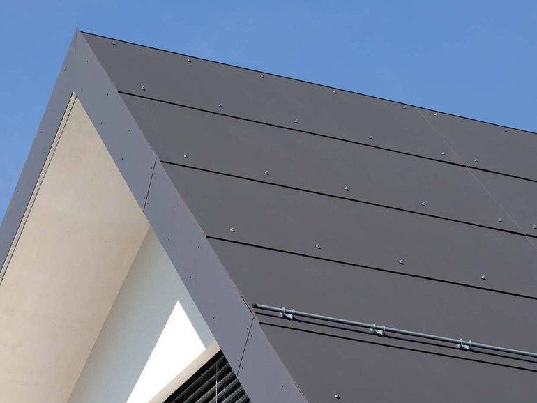 Roofing Panel And Sheet In Fibre Cement Plancolor By Swisspearl Italia Fibre Cement Cladding Exterior Wall Cladding Roof Design