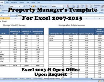 excel templates rental property