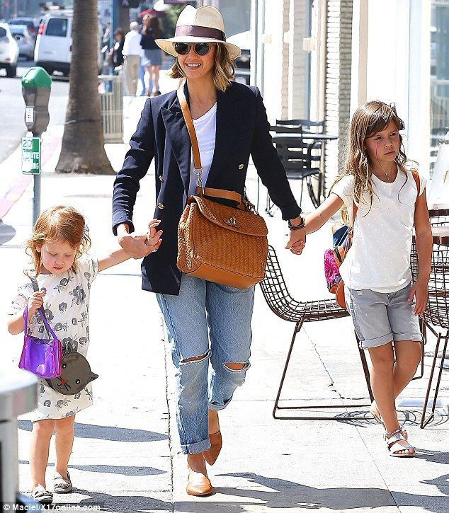 Busy mom: Jessica Alba took her daughters Honor, aged six, and Haven, aged three, on an ou...