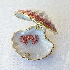 moro Seashell Box with Crab Swarovski Crystals 24K Gold