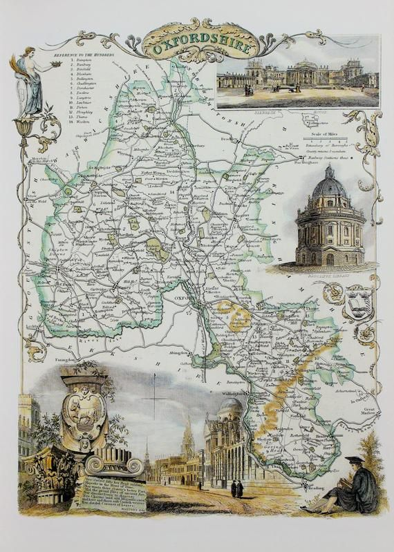 Vintage Map Oxfordshire Thomas Moule County Map Of Old England In