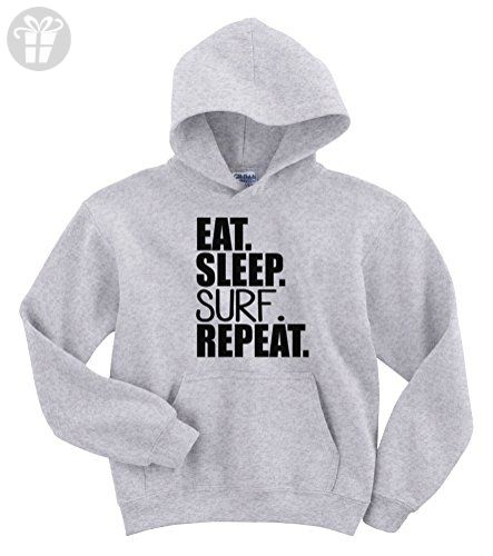 a857fd44ae1c Eat Sleep Surf Repeat Funny Hoodie Sweater (XXL