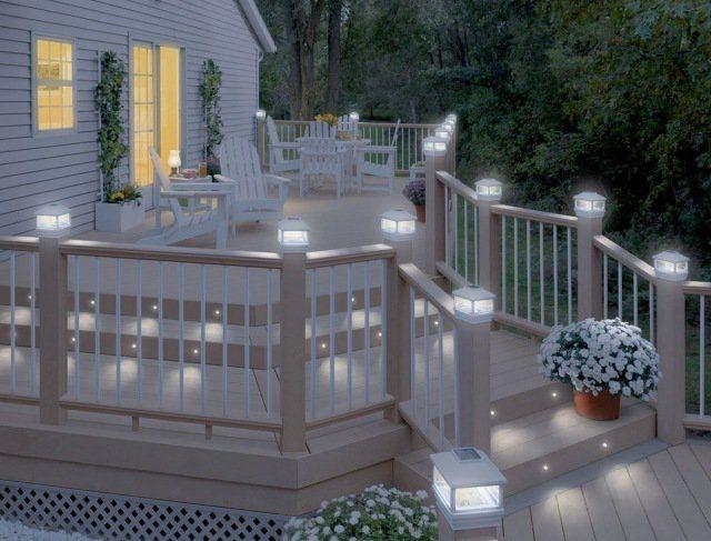 Solar Fence POST lampes extérieur solaire DEL blanc Jardin Post Cap Lumières Terrasse