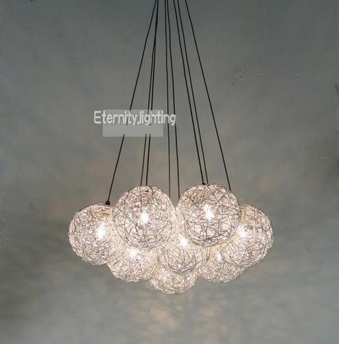 8 Light Aluminium Wire Ball Pendants Bundle Round Based Hanging ...