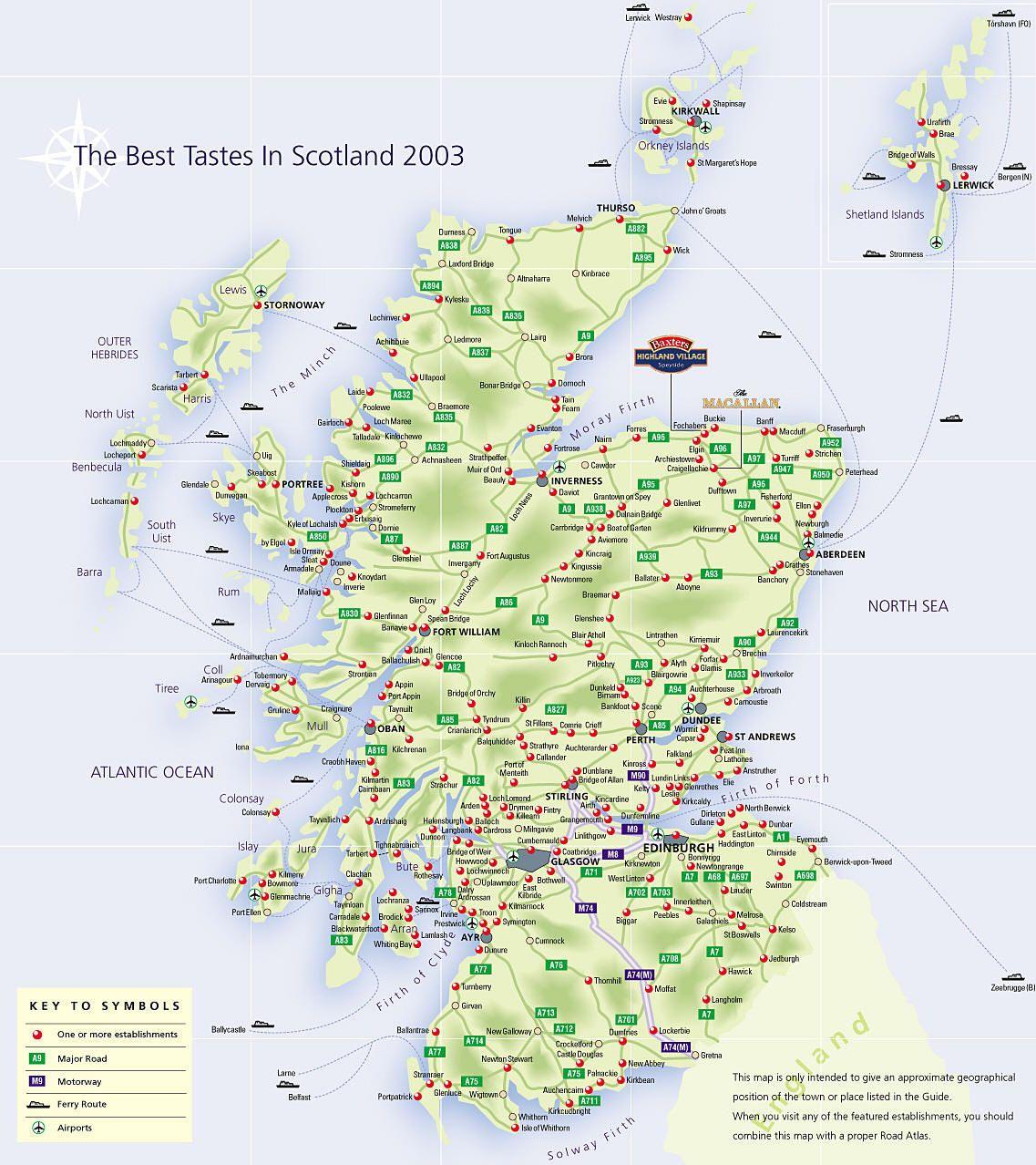 Scozia Cartina Fisica.Mappa Scozia Cartina Della Scozia Scozia Viaggio In Scozia Mappa