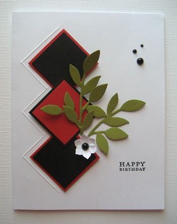 Thinking about for possible Father's Day Card    Using your scoring board, a diamond effect worked perfect with the mounting of SU! square punches.  Little leaves and Boho Blossom punch provided the accents.  A case of clean and simple on a one layer card.          009    The inside ~