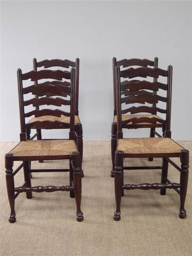 Set of 4 Antique Style Rush Seat Ladder Back Kitchen Dining Chairs FREE DELIVERY