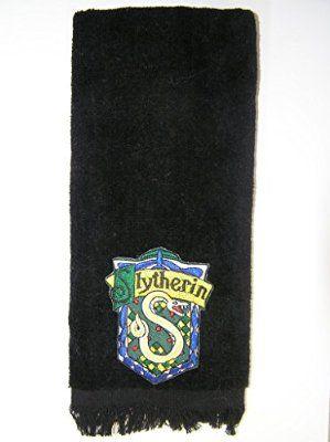Slytherin Bath Hand Towel Black Vintage Applique Harry Potter