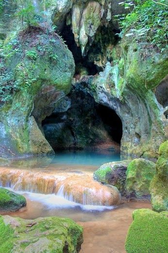 Entrance to Actun Tunichil Muknal, Mayan cave in Belize