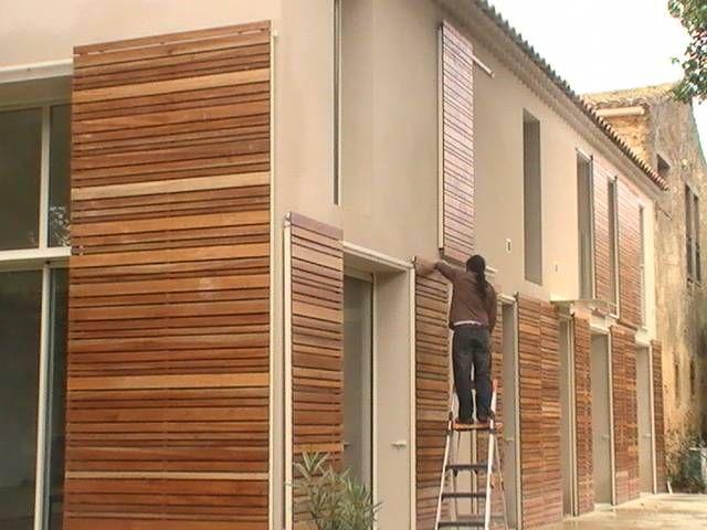 Volets coulissants en bois exotique architecte henri for Volets bois coulissants exterieurs