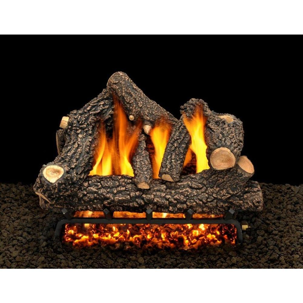 American Gas Log Cheyenne Glow 24 In Vented Natural Gas Fireplace Log Set With Complete Kit Safety Pilot Lit Cg24hdmtch Gas Fireplace Logs Natural Gas Fireplace Gas Fireplace