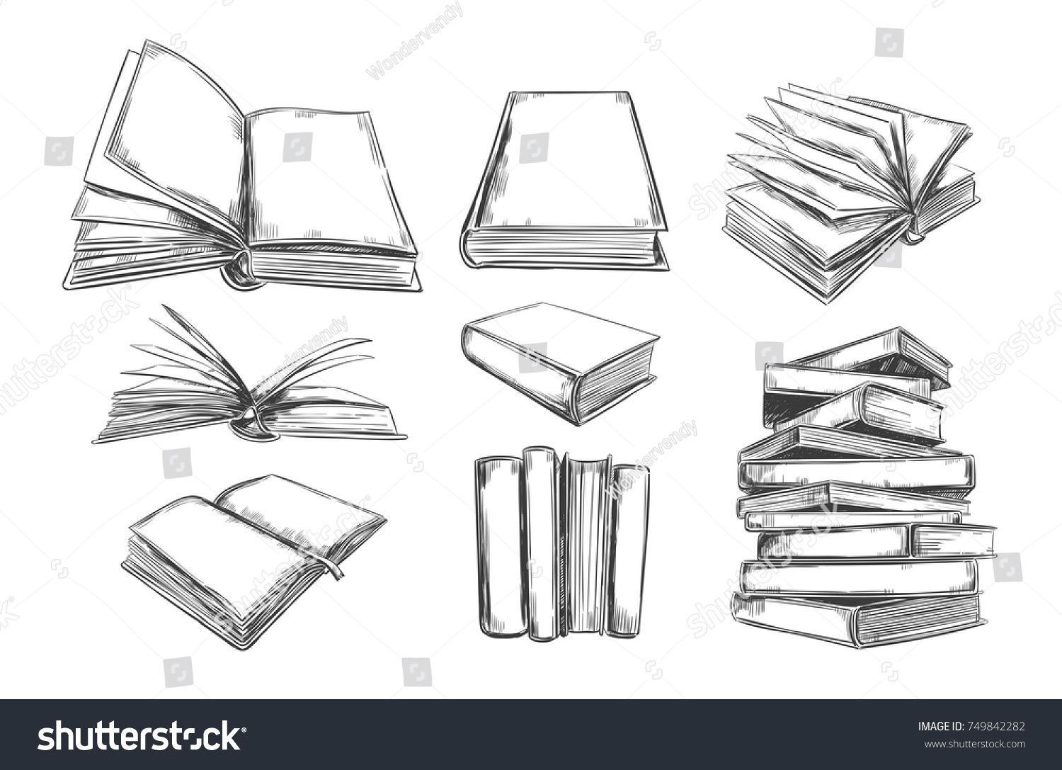 Books Vector Collection Pile Of Books Hand Drawn Illustration In Sketch Style Library Books Shop Ad How To Draw Hands Pile Of Books Drawing Illustration