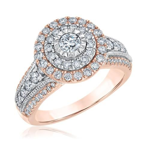 ba01689ce77c2 Ellaura Blush Round Diamond Double Frame Rose and White Gold ...