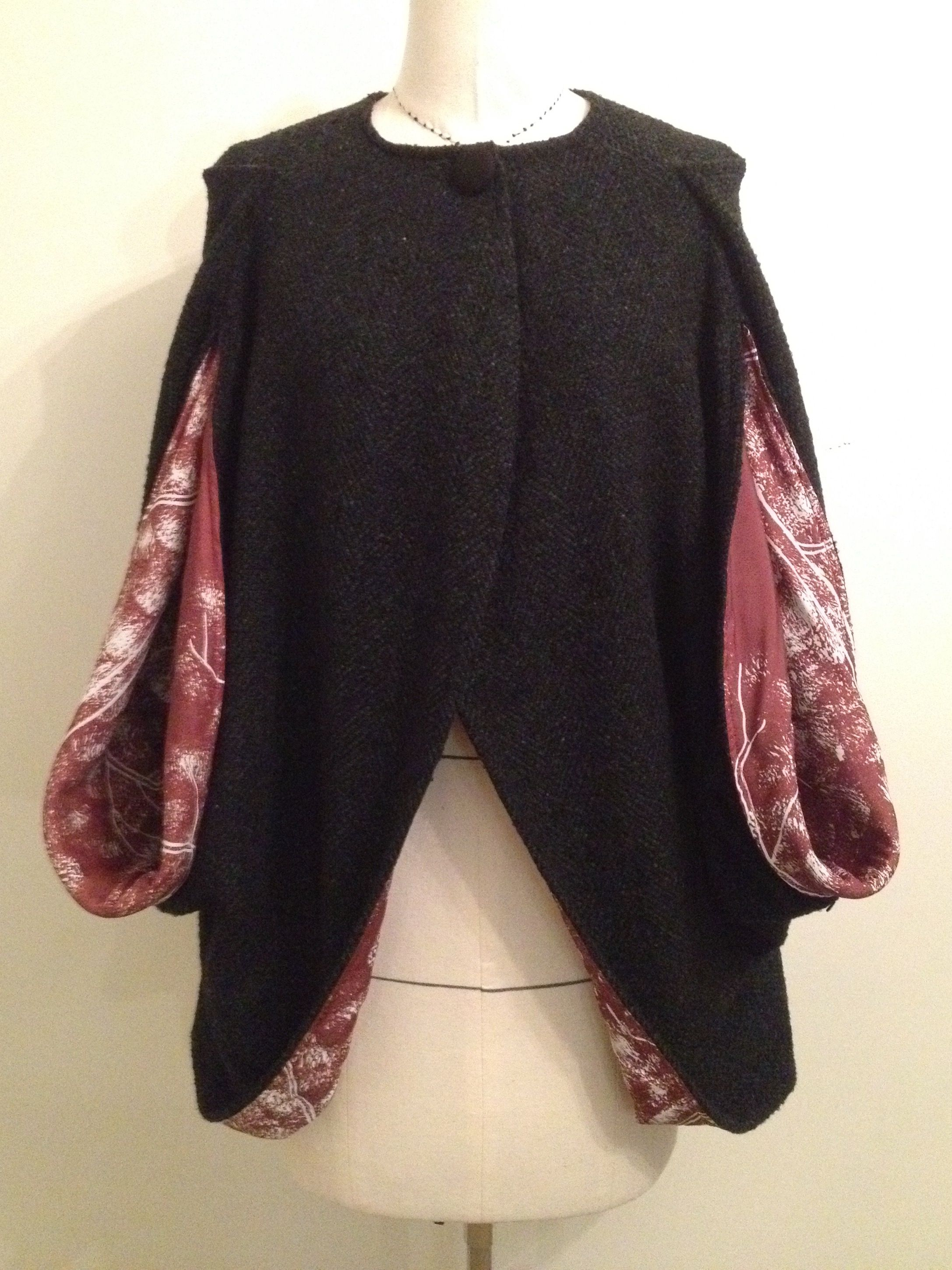 Cape. Black and green wool Cape with tree print insert. $120 Campisi couture.