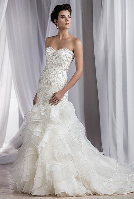 Brides: Jasmine Couture. Textured tulle fit-and-flare bridal gown ...