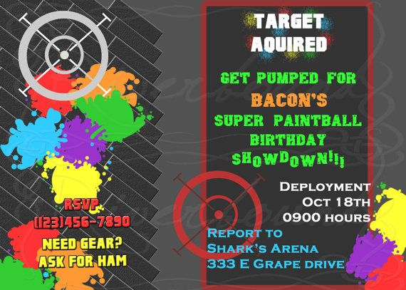 paintball birthday invitation - i'm so happy for bacon that he, Party invitations