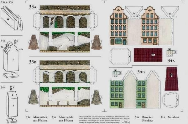 Some Little Medieval Buildings Paper Models In Ho Scale
