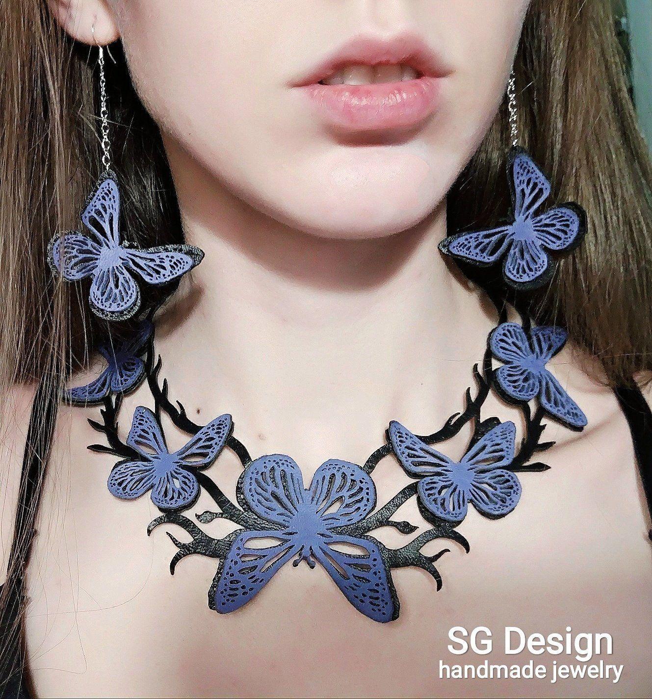 3D Butterfly Leather Earrings, Necklace, Set, Bracelet