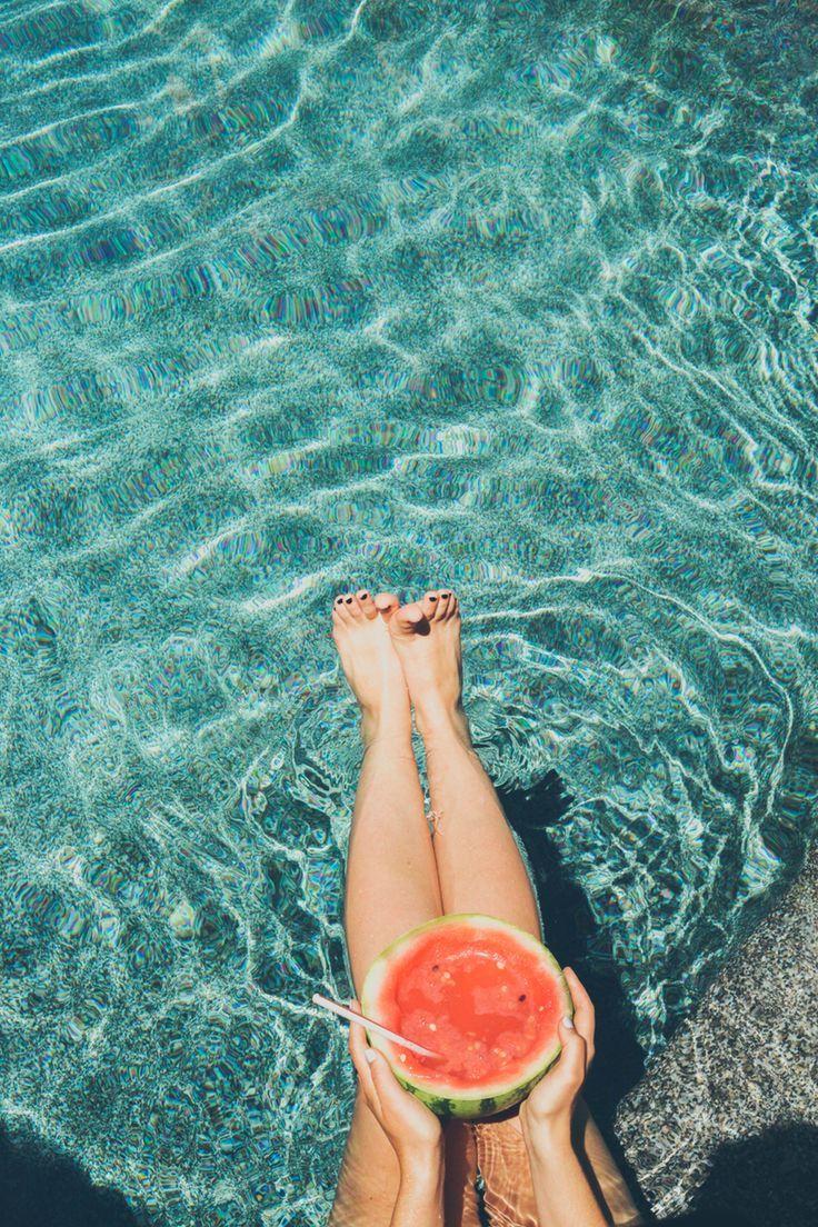 Pool day. #summer #watermellon #sunny