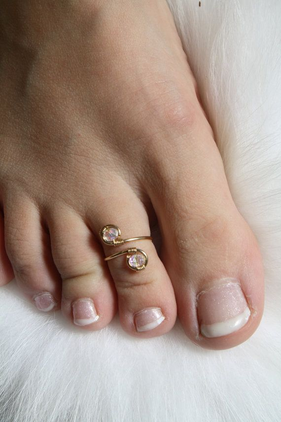 Fairy Crystal Toe Ring 14k Gold And Swavorski By