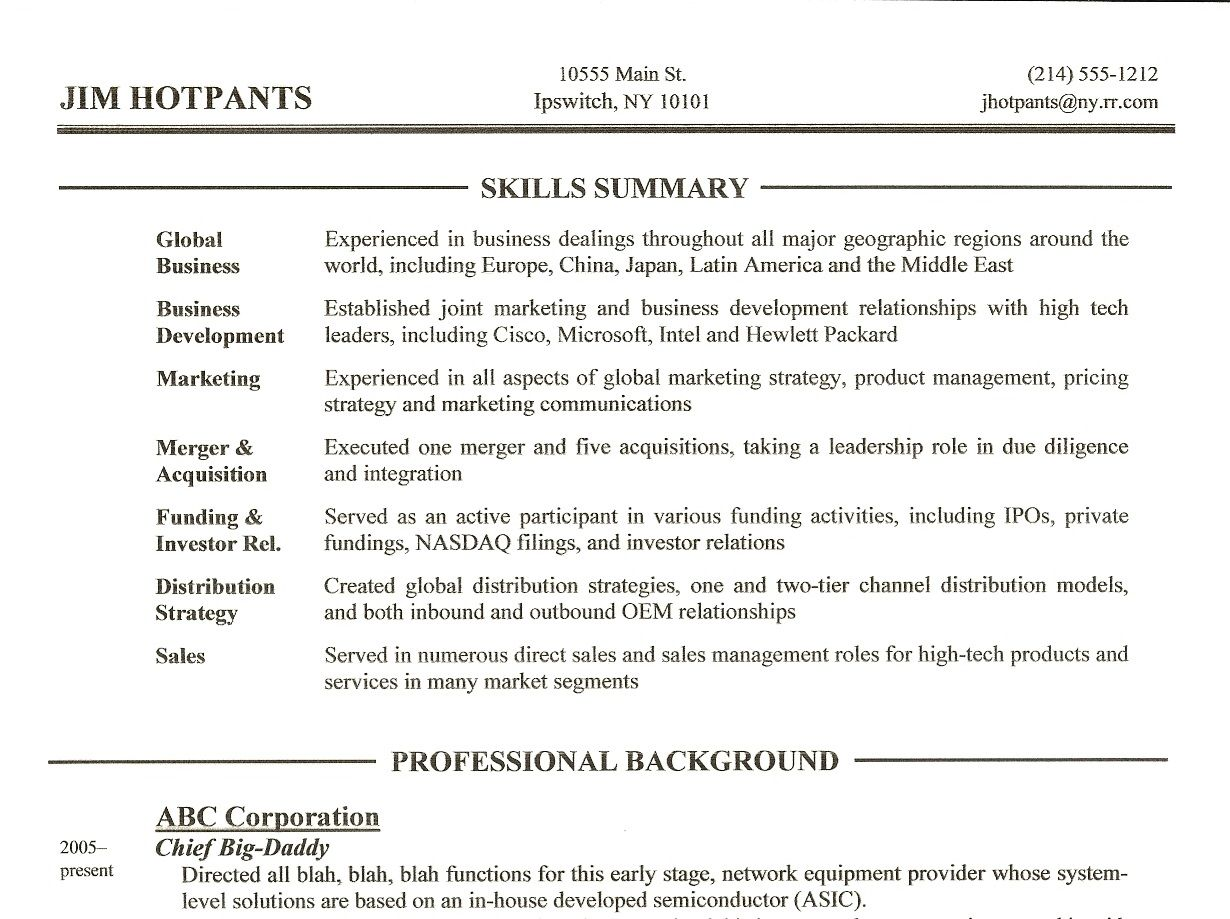 Summary of skills resume example