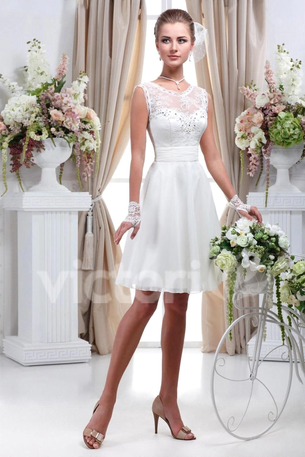 Elegant vestido de noiva curto scoop neck open back short wedding ...