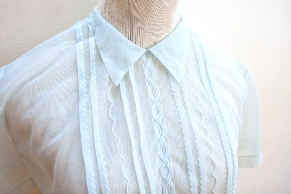 Sexy & Sweet Sheer Blouse with Pintucks, Pointed Collar, Back Buttons & Peplum, 1960s