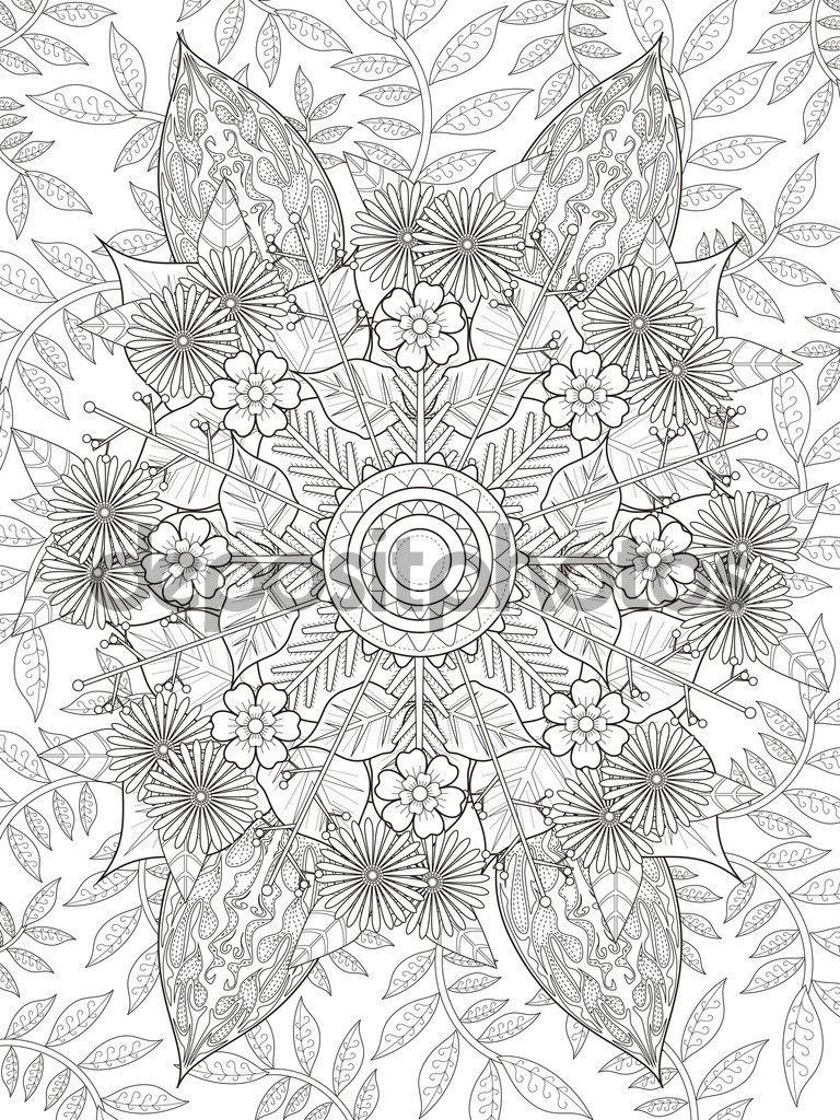 Descargar - Página para colorear de flores elegantes — Ilustración ...