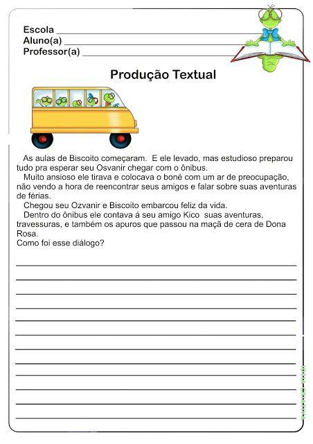 Atividade Producao De Texto Volta As Aulas Em 2020 Com Imagens