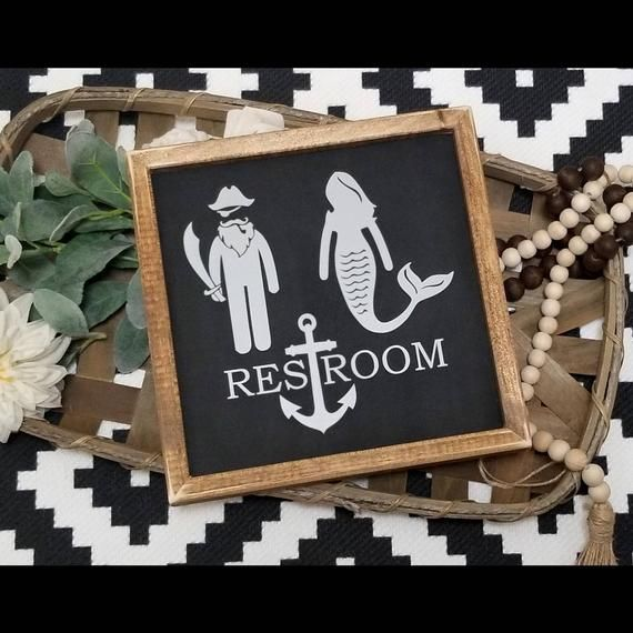 Mermaid pirate restroom sign, restroom sign, mermaid sign, nautical decor Sign, funny bathroom sign, farmhouse sign, bathroom decor #mermaidsign