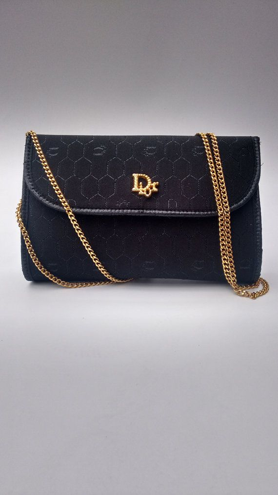 7f80ed4b3cb0 DIOR Christian Dior Vintage Black Monogrammed Shoulder   Clutch Bag ...