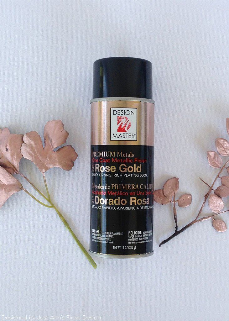 If you need rose gold flowers grab a white or a cream silk flower if you need rose gold flowers grab a white or a cream silk flower and make your own with this design master premium metals aerosol spray paint in mightylinksfo