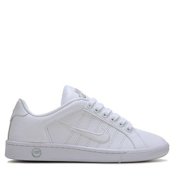 hot sales a9907 09050 Nike Womens Court Tradition II Leather Sneakers (WhiteWhiteSilver)