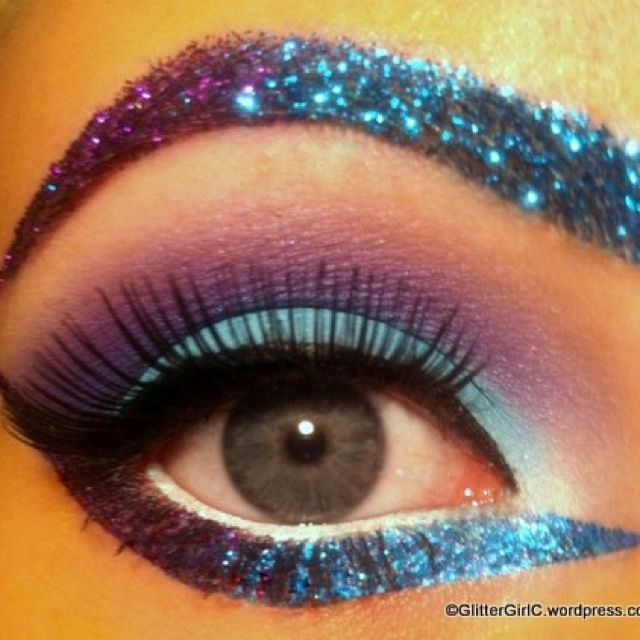 Carnival Or Showgirl Eye Makeup Without The Eyebrow Glitter
