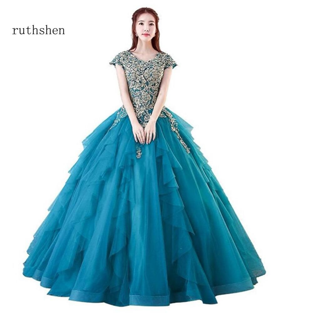 Ruthshen luxury long quinceanera dresses with short sleeves in stock