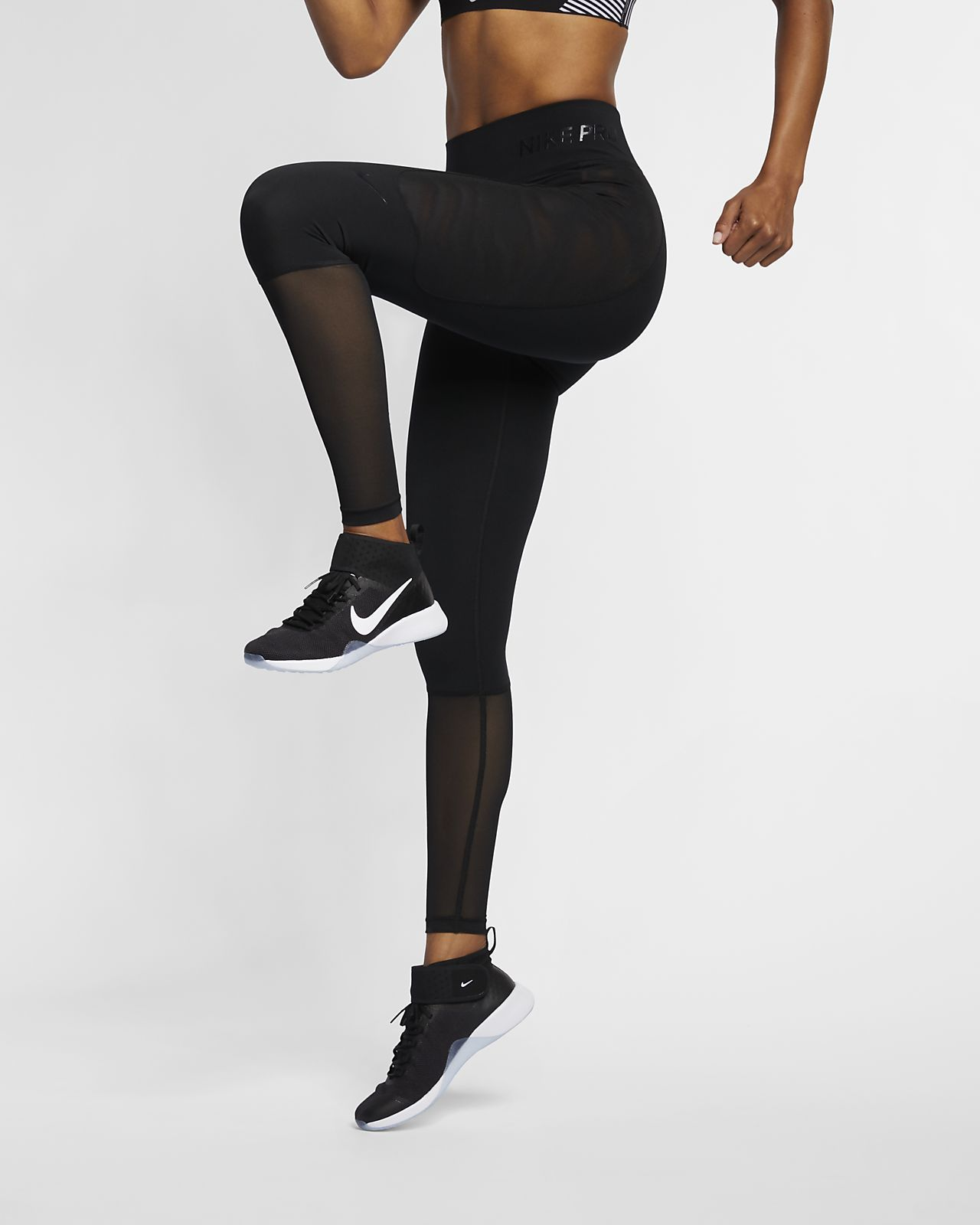 65c62caa551d3 Nike Pro Women's black workout leggings with mesh at the bottom. Cute and  athletic! #affiliate #fashion