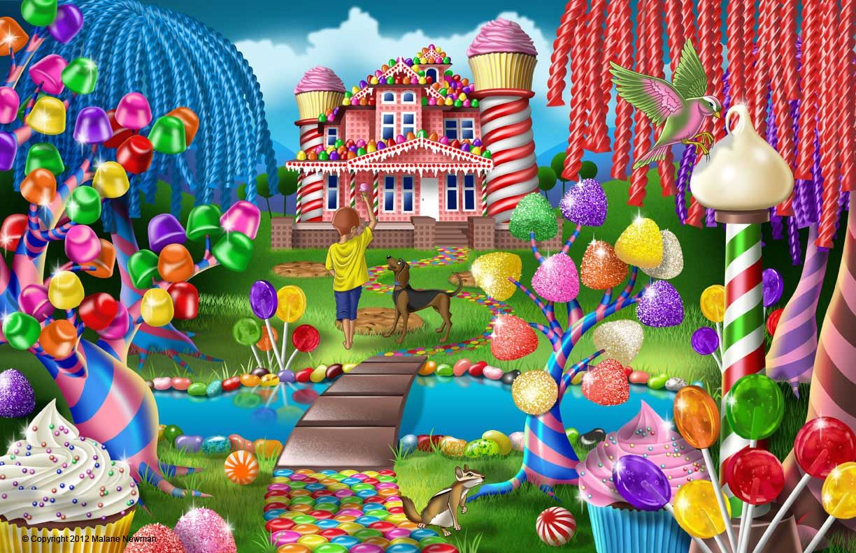Candy Land Illustration of a Fantasy World Made of Candy in this Sweet Retreat by Malane Newman ...