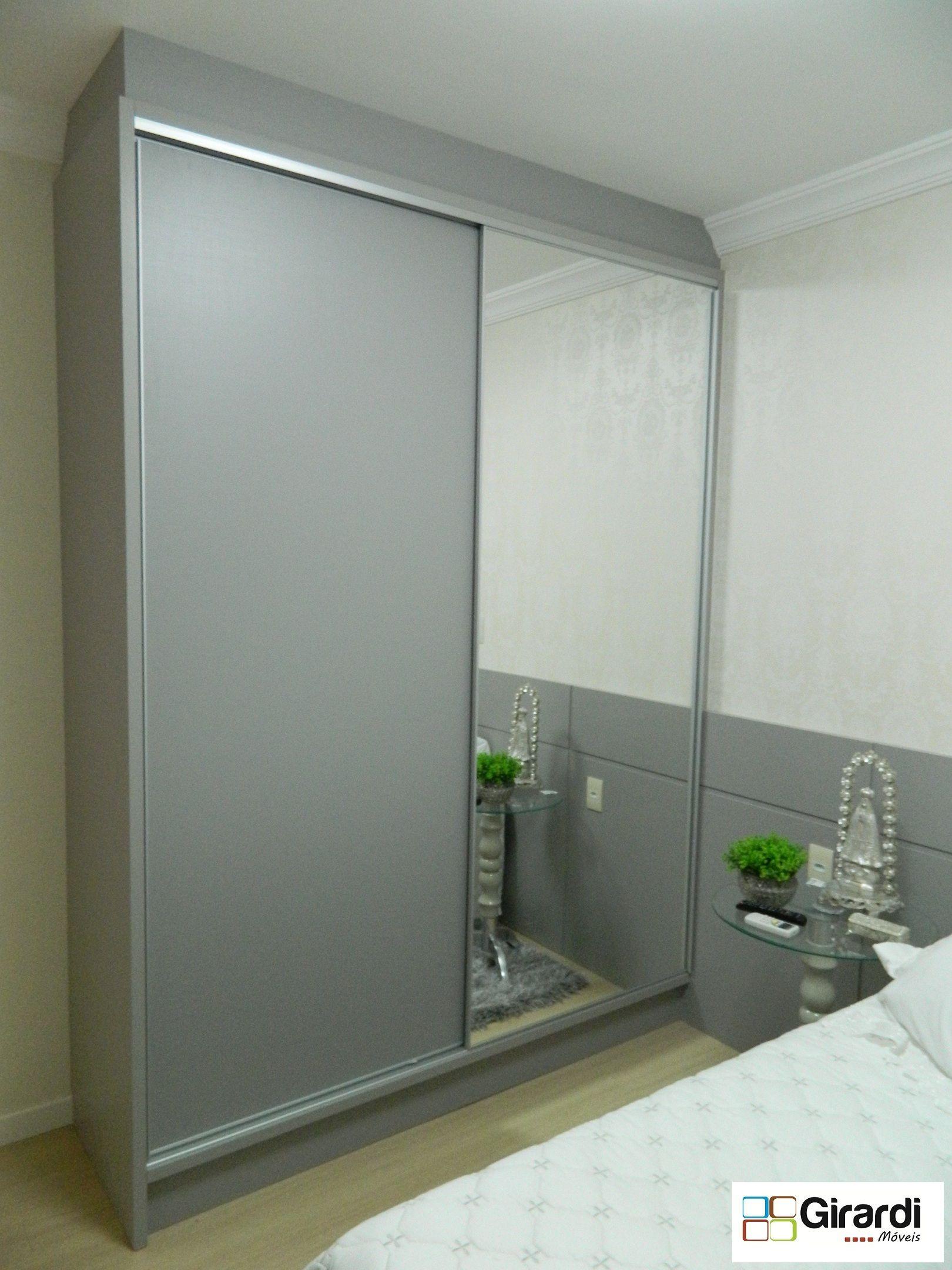 Roupeiro Feito Sob Medida Com Portas De Correr Em Mdf E Espelho  ~ Espelho Grande Para Quarto Barato