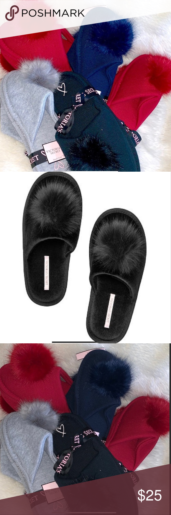 SMALL NWT Victoria's Secret Pom Pom Slippers Heather Gray 5-6