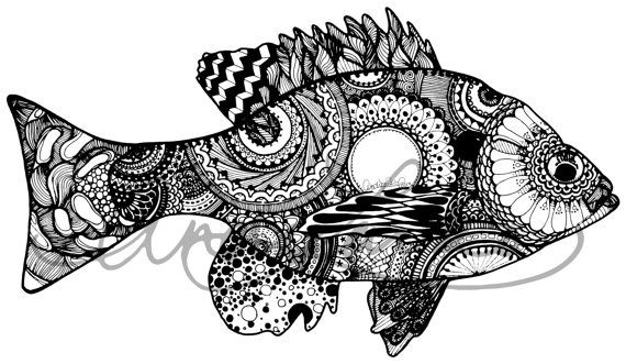 Bluegill Black White Zentangle Laminated 3m Vinyl Ot Andrealarko